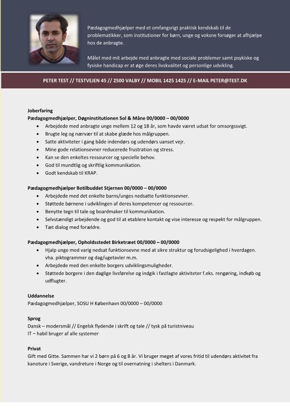 2 - CV Pædagogmedhjælper - erfaring fra døgninstitution