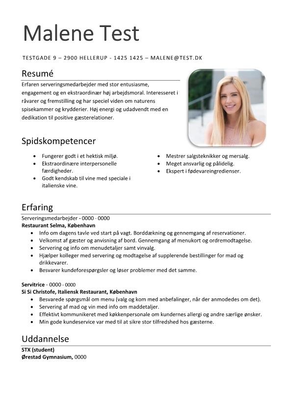2 - CV Serveringsmedarbejder