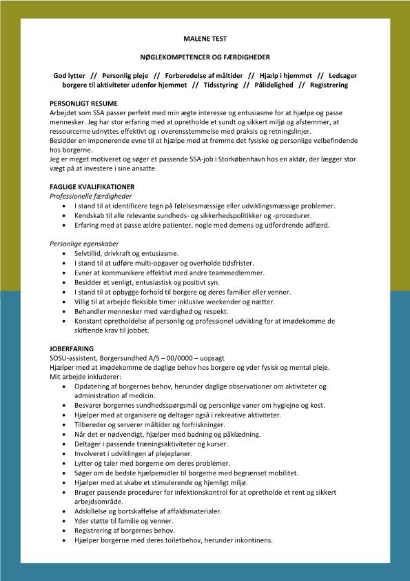 2 - CV Social og sundhedsassitent SSA