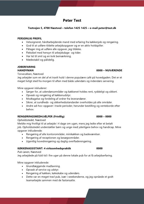 2- CV køkkenjob ufaglært
