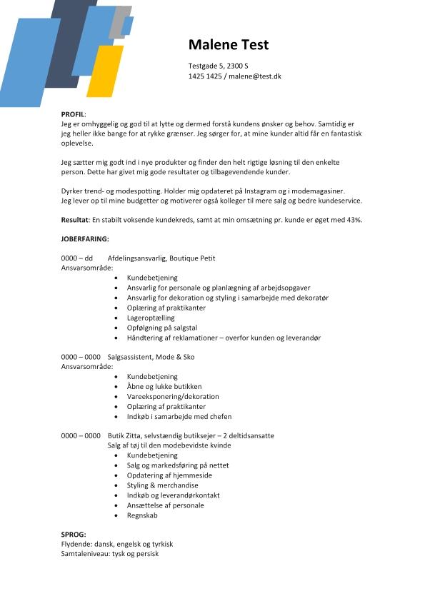 2 - CV Butik - afdelingsansvarlig