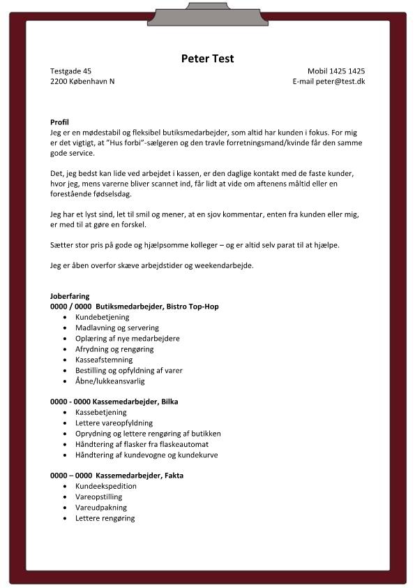 2 - CV Salgsassistent fødevarer