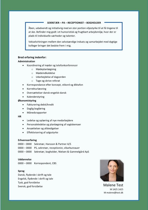 2 - CV Sekretær - PA - receptionist - bogholder