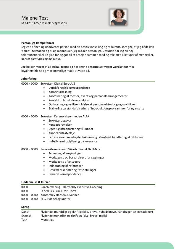 2 - CV Sekretær - kontorassistent