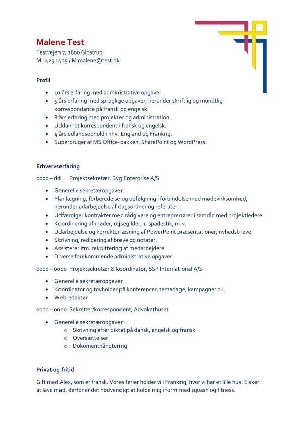 2 - CV Sekretær - korrespondent