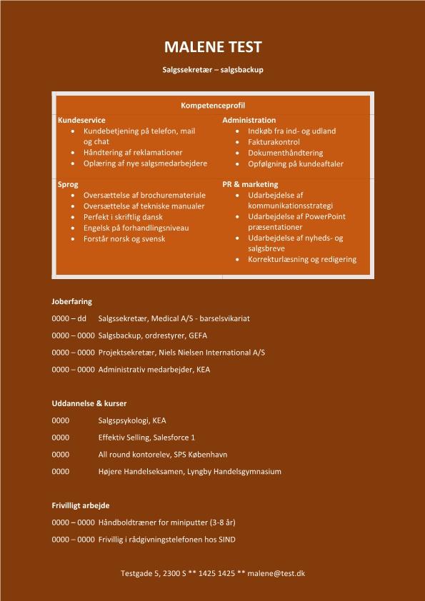 2 - CV Salgssekretær - salgsbackup